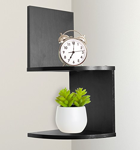 Greenco Modern Design 2 Tier Corner Floating Shelves, Espresso. by Greenco