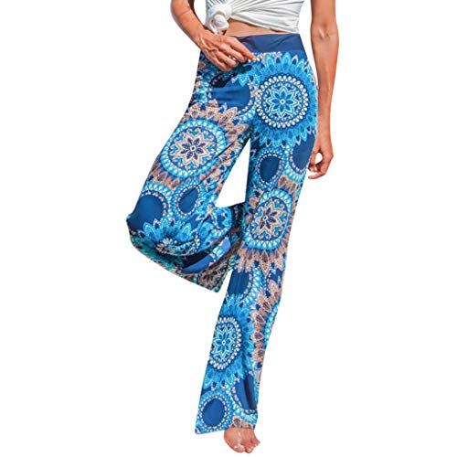Pervobs Women Summer Casual Boho Floral Printing High Waist Wide Leg Pants Holiday Daily Loose Leggings Trouser(M, Blue) by Pervobs Women Pants (Image #9)