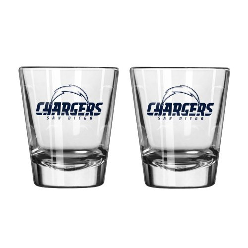 NFL Football Team Logo Satin Etch 2 oz. Shot Glasses | Collectible Shooter Glasses - Set of 2 (Chargers) ()