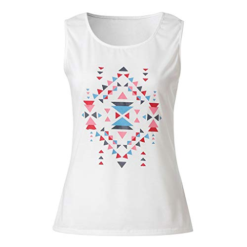 Summer Womens Bohemian Sleeveless Tops O Neck Printed Blouse Slim Fit Tee Shirt