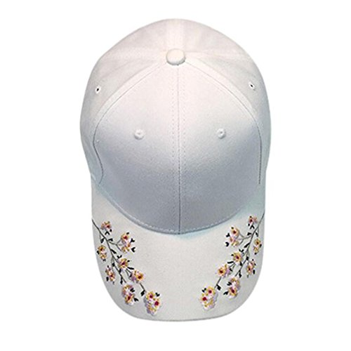 haoricu Baseball Hat, 2017 New Women Embroidered Baseball Cap Summer Snapback Caps Hip Hop Hats (White)