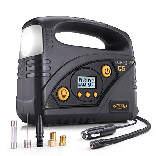 Tire Inflator – AUTLEAD C5 Portable Air Compressor Pump, 12V 150 PSI Digital Tire Pump with Adaptors for Cars, Bicycles, Motorbikes, and Other Inflatables For Sale
