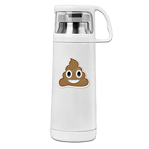 BMW47' Cute Poop Smiley Face Water Bottle With A Handle Vacuum Insulated Cup For Hot And Cold Drinks Coffee,Tea Travel Thermal Mug,14oz White