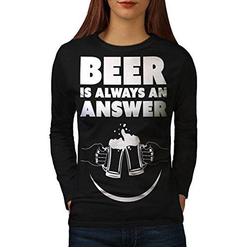 cb02a7847 Wellcoda Beer Answer Cool Funny Womens Long Sleeve T-Shirt, Pint Design  Print Black