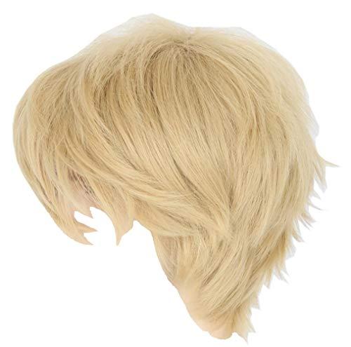 Topcosplay Women or Men Wig Blonde Short Layered Fluffy Cosplay Halloween Wigs]()