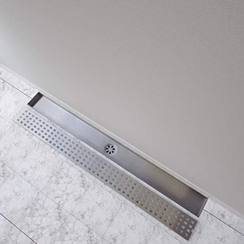 Square Shower Floor Drain with Removable Strainer Stainless Steel N7