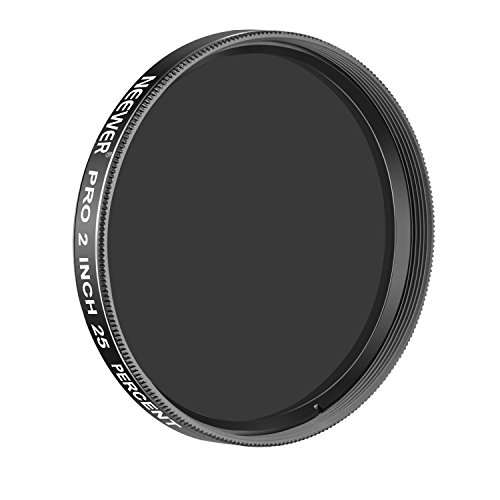 Neewer Pro 2 inches 25 Percent Transmission Neutral Density Moon Filter, Aluminum Frame Optical Glass Telescope Eyepiece Filter Helping Reduce Overall Brightness and Irradiation (Black)