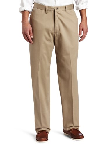 - Lee Men's No Iron Relaxed Fit Flat Front Pant, Mid-Khaki, 36W x 30L
