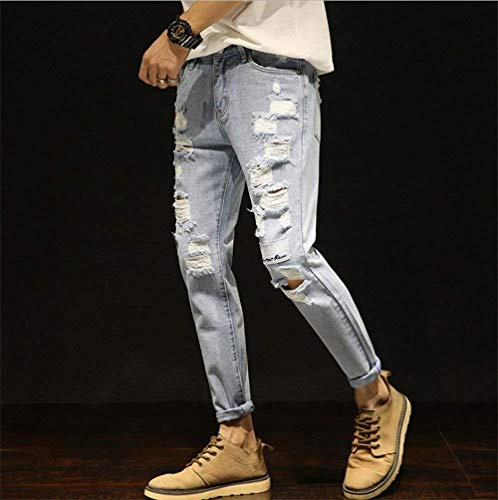 Pants Fit Strappato Slim Casual Jeans Pantaloni Hellblau Denim Hot Uomo Super Cool New Handsome BaAvqaw
