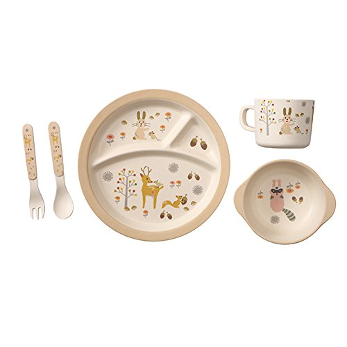 Baby Feeding Set, Kids and Toddlers Bamboo Dinnerware Set, Baby Gift Set, 5pcs Includes