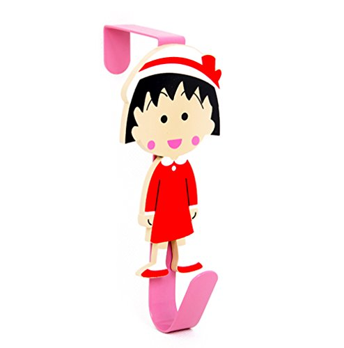 YOURNELO Cute Cartoon Wooden Art Door Wall Mounted Decorative Key Coat Rack Hooks (Chibi Maruko-chan 1)]()