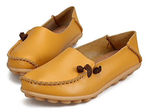 Auspicious beginning Ladies Leather Loafers Fashion Moccasins Flats Shoes Yellow V3DH6JbK