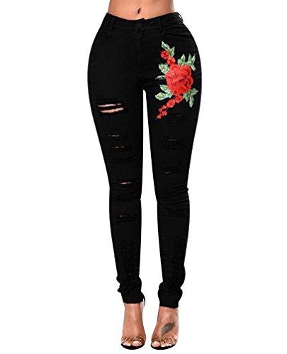ISSHE Pantalones Vaqueros Cintura Alta Mujer Jeans Rotos Mujer Vaqueros Skinny Slim Pantalon Vaquero Denim Tiro Alto Mujer Jeggings Elasticos Treggings Ajustados Fitness Deportes Negro