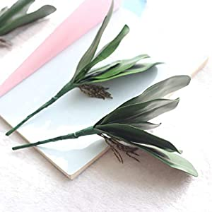 UUPP 4 pcs Artificial Shrubs Plants Fake Ferns Artificial Butterfly Orchid Leaves Bush Flowers for Indoor Outside Home Garden Office Decor, 10.8'' 5