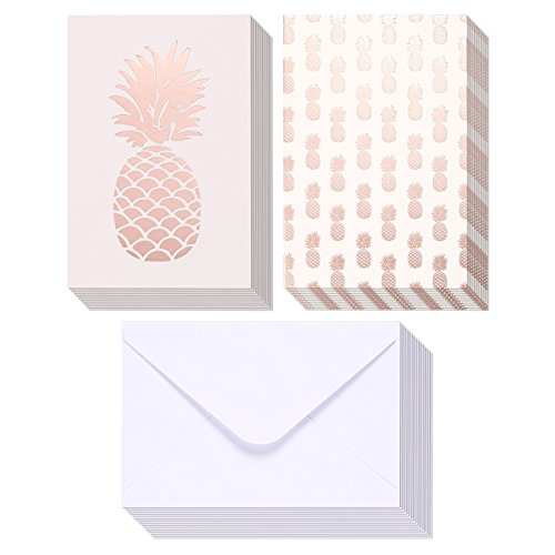 36-Pack Assorted All Occasion Greeting Cards - Pink Rose Gold Foil Pineapple Design Assortment - Bulk Box Set with Envelopes Included - 2 Designs, 4 x 6 (Gold Stationery Boxes)