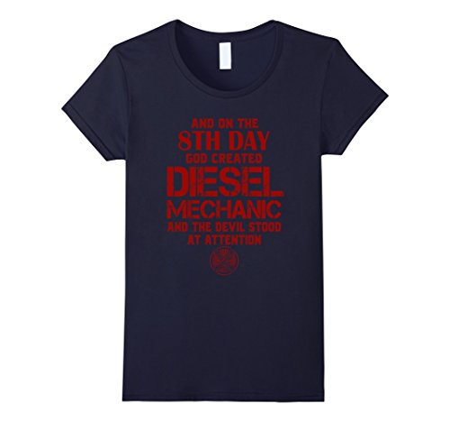 Women's FUNNY DIESEL MECHANIC T-SHIRTS Large Navy