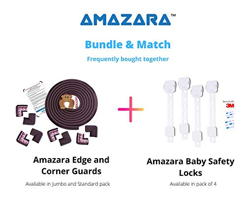 AMAZARA Baby Proofing Edge & Corner Guards | Extra Long 16.4Ft Edge + 8 Pre-Taped Corner Protectors | Child Safety Furniture Cushions | Brown (16.4ft Edge 8 Corners)