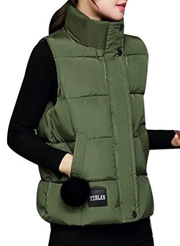 Yasong Women Padded Puffer Quilted Vest Gilet Bodywarmer Sleeveless Jacket Green