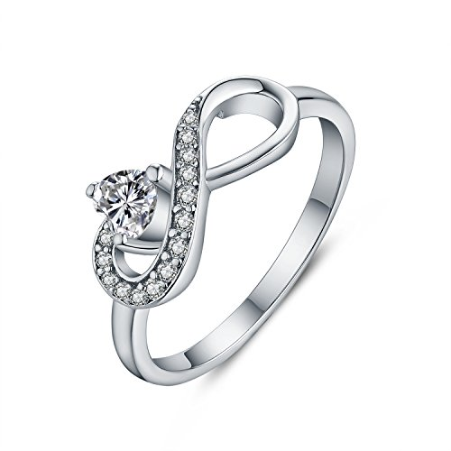 JO WISDOM Infinity Heart 925 Sterling Silver Forever Cubic Zirconia Ring Love & Friendship Rings (Love Silver Forever Ring Sterling)