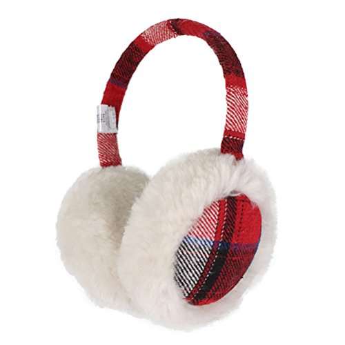 Women Fleece Ear Muffs Ear Warmer Soft Ear Bag Earmuff for Snow Skiing (Red)
