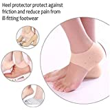 Jini Collection® Unisex Vented Moisturizing Silicone Gel Heel Socks for Swelling, Pain Relief, Foot Care Ankle Support Pad (Skin Colour) - Set of 1 Pair