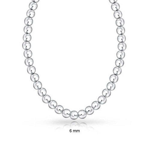 Bling Jewelry 925 Sterling Silver Beaded Ball Necklace 6mm (Beaded Silver Necklace)