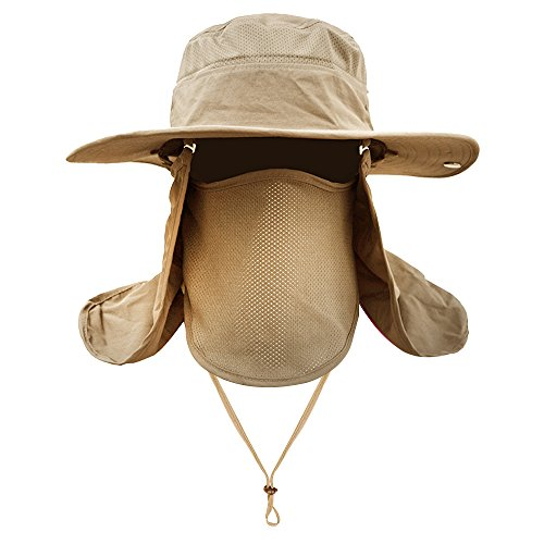 (Men Women Outdoor Sport Hat with Wide Brim Sun Protection UPF 50+ Summer Mesh Cap Removable Neck&Face Flap Cover Caps for Backpacking,Cycling,Hiking,Fishing, Outdoor Camping (Khaki))