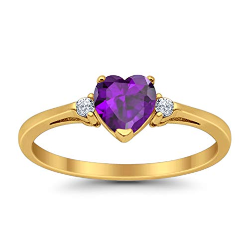 Blue Apple Co. 3-Stone Heart Promise Ring Heart Simulated Amethyst Round CZ Yellow Tone 925 Sterling Silver