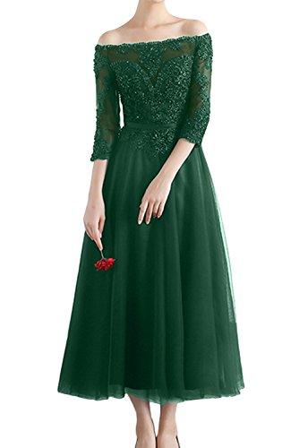 mit Promkleider Navy Damen Ivydressing Partykleider 2017 Spitze Dunkelgruen Arm WadenWadenlang Abendkleider Tuell zR07qxR