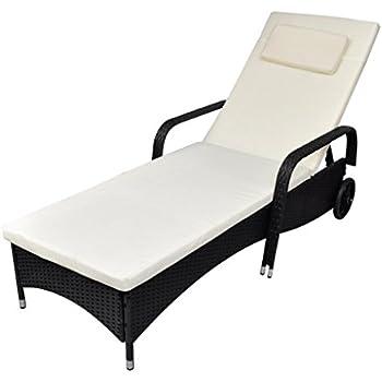 Amazon Com Festnight Chaise Lounge Chair Poly Rattan Sun