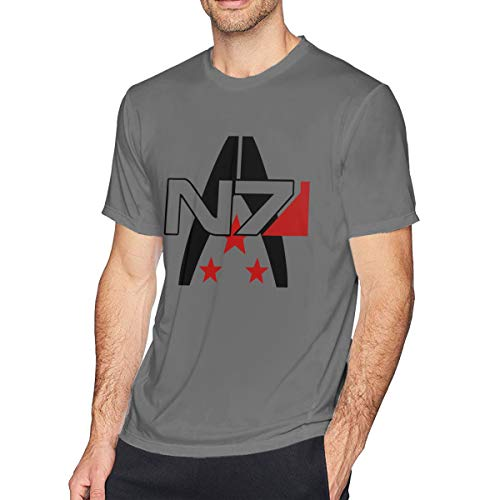 (HEETENGGR O-Neck Fashion Mass Effect Alliance N7 Special Forces Insignia Short Sleeve T-Shirt for Mens and Boys Deep Heather XXL)