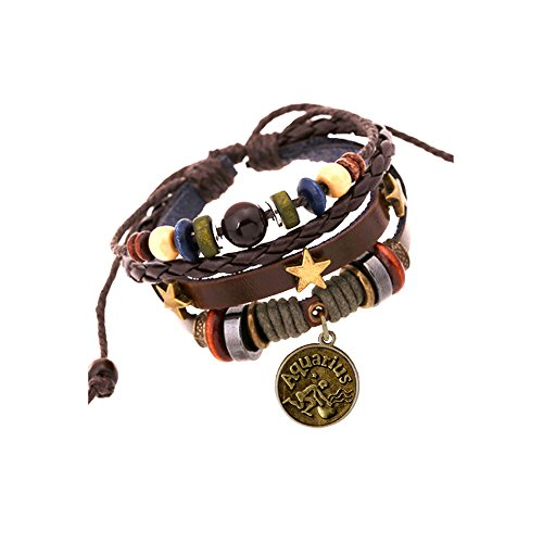 JEWSUN Handmade Genuine Real Leather Bracelet with Constellation Zodiac Sign Logo Charms,Color Wooden Beads,Button,Adjustable Size (Aquarius)
