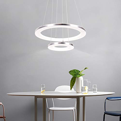CHYING Modern LED Pendant Light, Acrylic Chandeliers Ceiling Light, 2-Ring, 30W, Cool White, 6500K, Adjustable Height Hanging Light Fixture for Dining Room, Restaurant, Kitchen Island
