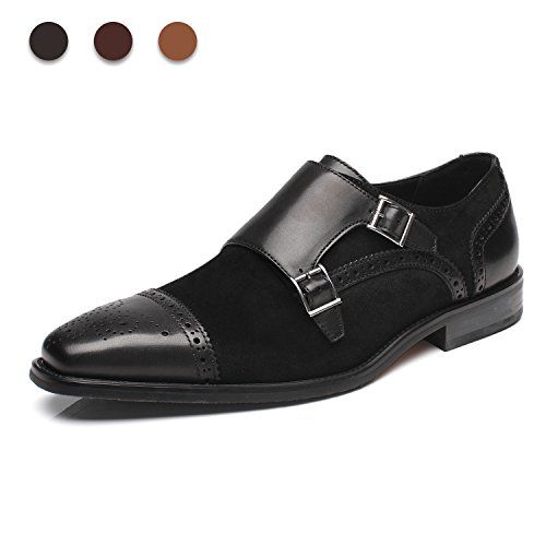 La Milano Mens Leather and Suede Double Monk Strap Loafer Dress - Monk Dress Strap Shoes