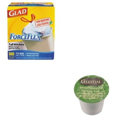 KITCOX70427GMT14737CT - Value Kit - Celestial Seasonings Decaffeinated Green Tea K-Cups (GMT14737CT) and Glad ForceFlex Tall-Kitchen Drawstring Bags (COX70427)