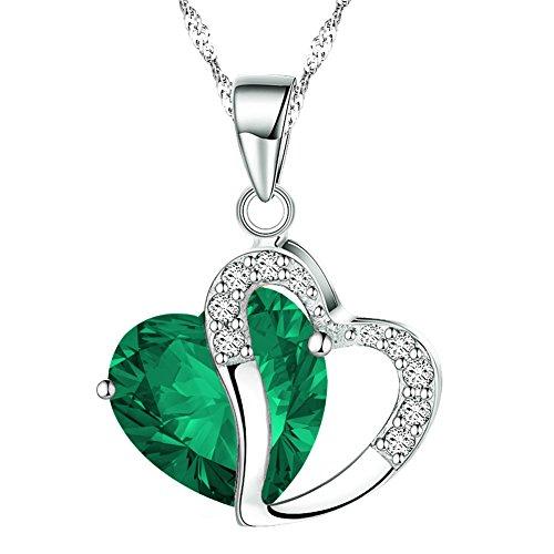 KATGI Fashion Austrian Crystals Heart Shape Pendant Necklace (Forest Green)