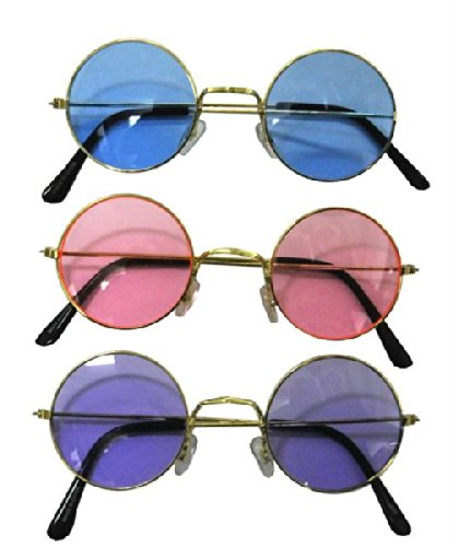 Round Glasses Costumes (John Lennon Colored Sunglasses 1 Pair (colors)