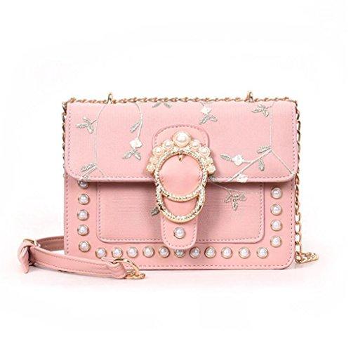 Liu Yu·casa creativa Bolso de Crossbody Bolso de Hombro de Las Mujeres Bolso de la Personalidad del Remache Pequeño Bolso Cuadrado Paquete de Moda Diagonal (Color : Blanco) Pink