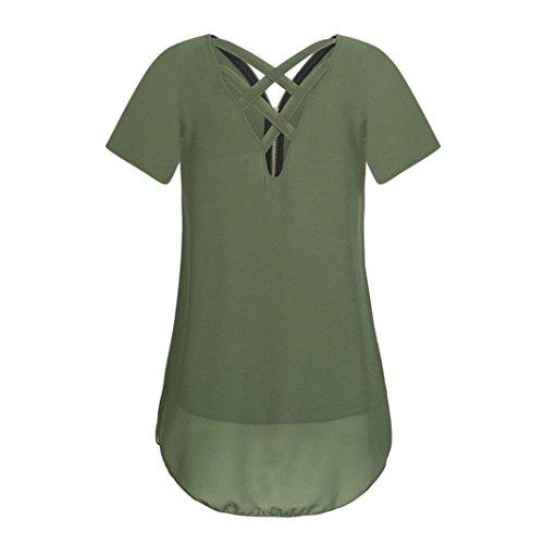 Soie Mousseline Hem Arme Courtes GreatestPAK Lache Shirts en de Scoop Femme Manches verte Rservoir Zipper Neck Dbardeurs Sexy V T ftw4q5n