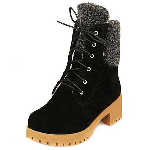 COOLCEPT Women Boots Lace Up Black 3u6nu