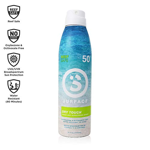 Surface Dry Touch Spray Sunscreen - Reef Safe, Ultra-Light & Clean Feeling, Broad Spectrum UVA/UVB Protection, Paraben Free, Hypoallergenic, Water Resistant, Fragrance Free - SPF 50, 6oz