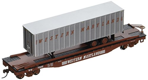 "Bachmann Industries 52' with 35' Piggyback Trailer Western Maryland Flat Car, 6"", HO Scale"