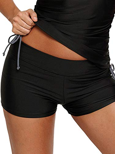 WILLBOND Women Swimsuit Shorts Tankini Swim Briefs Side Split Plus Size Bottom Boardshort Summer Beach Swimwear Trunks (L Size, Black ()