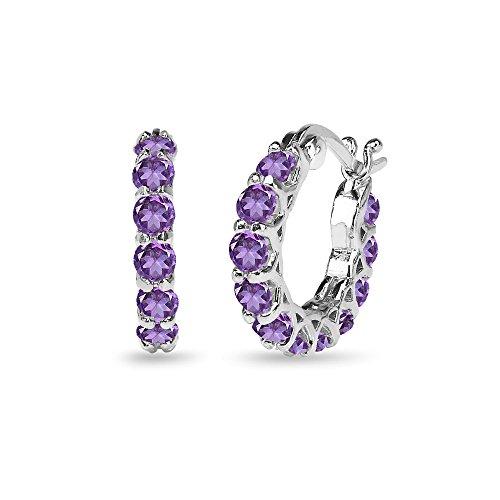 Sterling Silver Genuine, Simulated or Created Gemstone Small Round Huggie 18mm Hoop Earrings