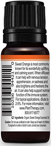 Plant Therapy Orange Sweet Organic Essential Oil 100% Pure, Undiluted, Therapeutic Grade