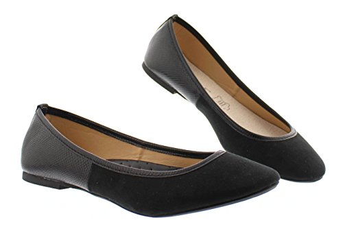 Gold Toe Women's Ermina Mixed Media Faux Suede and Snake Skin Round Toe Ballet Flat Comfort Dress Shoes Black 9 US