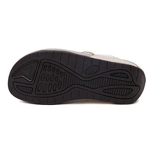 Material Opcional Tamaño Zapatos Feifei Color la 5 de Negro Zapatillas Moda Mujer EU38 Negro Rhinestone Verano CN38 UK5 de de Negro PU Beige Playa Personalidad qaFXaHw