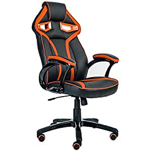 Merax Stylish Devil's Eye Series High-Back Gaming Chair PU Leather and Mesh (Orange)