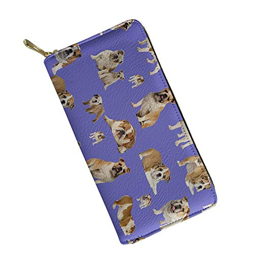 doginthehole American Bulldog Women Wallet Zip Around Clutch Ladies Travel Coin Purse ()