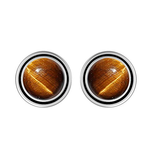 Natural 8mm Round Shape Tiger Eye Stud Earrings 925 Silver Plated Handmade Stud Earrings Jewelry For Women Girls ()